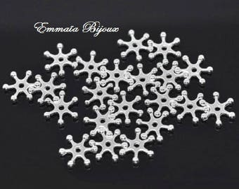 25 beads 9 mm silver-plated snowflakes