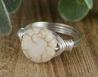 Sale! Round White Magnesite Gemstone Wrapped Ring- Sterling Silver, Yellow or Rose Gold Filled Wire- Any Size 4 5 6 7 8 9 10 11 12 13 14