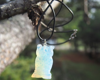 Sea Opal Owl Figurine Necklace