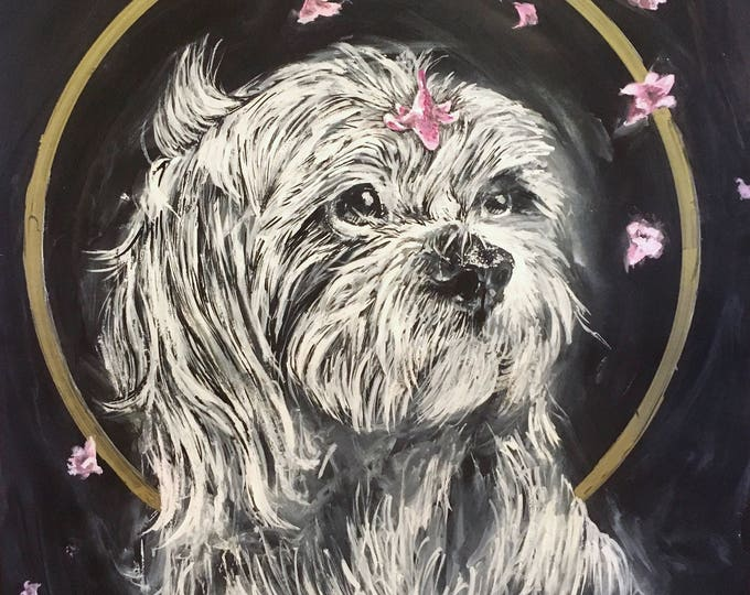 Featured listing image: Custom Chalkboard Inspired Painted Pet Portrait - Handpainted Originals made to order