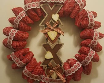 Valentine's Day Wreath - XOXO - Burlap and Lace