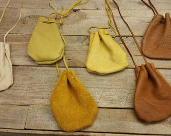 "Deerskin leather pouch/ Medicine Bag, soft and supple 2"" x 4"" natural Colors C-8"