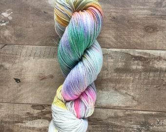 Hand Dyed Sock Yarn, Superwash Merino Wool - Dragonfly Wing (Ready to ship)