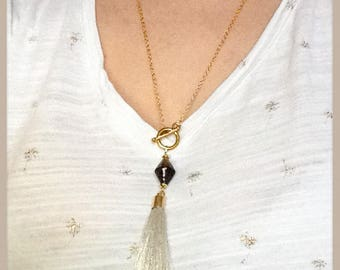 Minimalist gold tassel Lariat Necklace, Murano glass bead