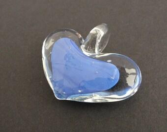 Blue Heart Glass Pendant -  38x48mm