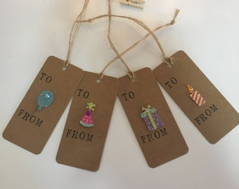 Handmade - Hand Stamped -  Gift Tags - Set of 4 - Birthday Design - Gift Labels