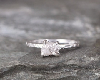 Rough Uncut Diamond Ring - Raw Diamond Engagement Ring - 1 Carat - Hammered Texture Sterling Silver  - April Birthstone - Stacking Rings