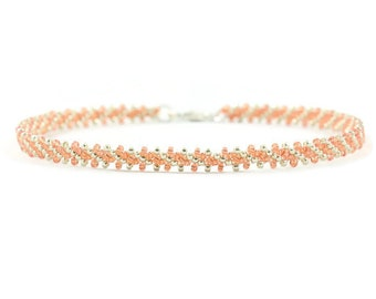 Peach Silver Anklet - Striped Anklet - Chain Ankle Bracelet - Beadwork Jewelry - Beaded Anklet - Beach Jewelry - Summer Anklet