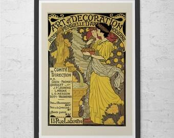 Vintage Art Nouveau Poster BELLE EPOQUE Poster Print Vintage French Art Poster Yellow Wall Art Nouveau Print
