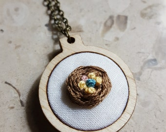 Embroidered Bird Nest Mother's Necklace, Mama Necklace, New Mom Jewelry, Miscarriage Memorial Keepsake Godmother gift Adoption Gift New Baby