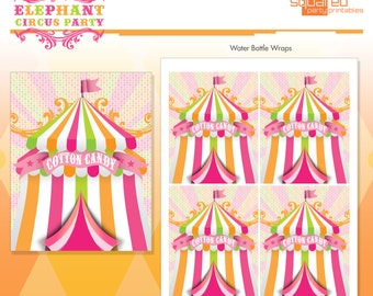 Pink Circus Elephant Cotton Candy Tags - Favor Tags - Hot Pink - DIY Print - Vintage Carnival - Instant Download