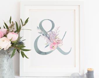 Printable. Ampersand sign, Wedding Ampersand sign, Floral sign, Bridal shower decor, dainty wedding elegant, geometrical wed,geometric 00L13