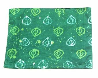 SALE: Placemat- Cotton Cloth- Green Fig- Hand Batik Block Printed- Set of 4