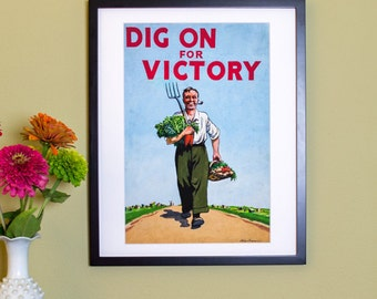 Dig On For Victory - Vintage Poster Reproduction - Victory Garden Poster from UK