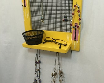Yellow Jewelry storage organizer sorter wall hanging yellow jewelry box necklace hook