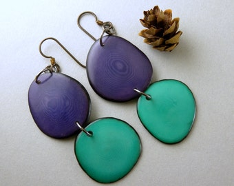 Grape Purple and Teal Tagua Nut Eco Friendly Earrings with Free USA Shipping #taguanut #ecofriendlyjewelry