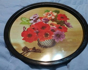 On Sale Red Poppy Flower Round Serving Home Decor Serving Tray