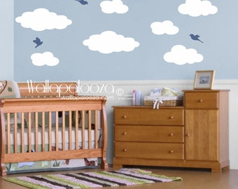 Cloud Wall Decals - Clouds and Birds - Cloud Wall Art - Nursery Wall Decal - Nursery Wall Decor - Wall Art - Wall Stickers