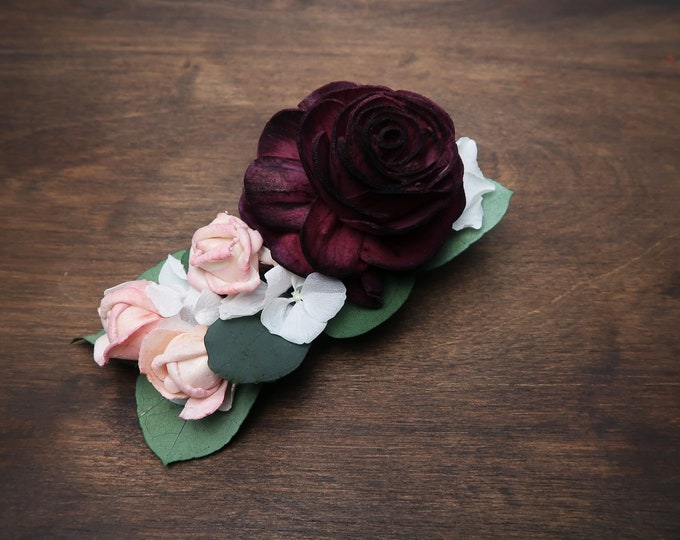Floral hair clip burgundy wine rose preserved white hydrangea small pink flower eucalyptus Alternative bride boho wedding hairpiece bridal
