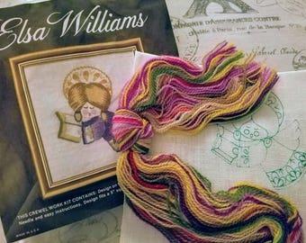 Vintage Elsa Williams Crewel Work Kit, Kitschy Angel, Mid Century Modern, Complete