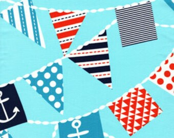OOP HTF 17 inches michael miller Out To Sea Fabric Mutiny on The Bunting Nautical Anchor Flags on Aqua Blue