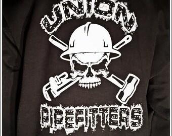 Union Pipefitters Hooded Sweatshirt Hoodie Black all sizes