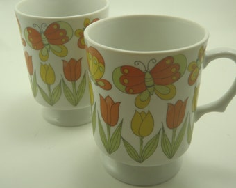 2 Vintage Butterfly Pedestal Mugs Colorful Stacking Retro Mod