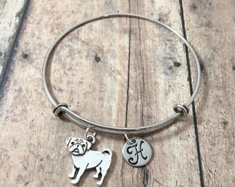 Pug initial bangle - pug jewelry, dog breed jewelry, pug dog bangle, pug owner gift, silver pug pendant, small dog jewelry, pug bracelet