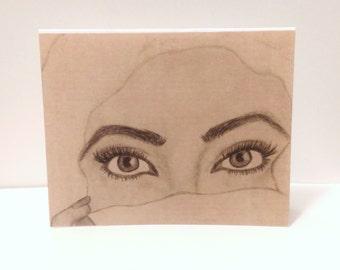 Exotic Eyes Version 2 Card (blank inside, folded card, original art)