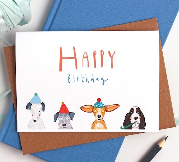Birthday Card Dog Birthday Card Happy Birthday Card