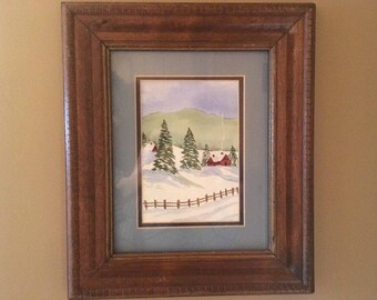 Vintage Original Farm Red Barn Winter Landscape Watercolor Painting Wood Frame