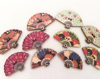 10 pcs Folding Fan Wood Button - Mixed Colors
