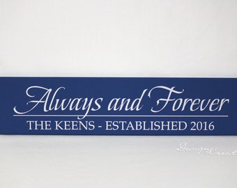 Custom Wedding Gift - ALWAYS and FOREVER - Family Established Sign - Wedding sign, personalized family name signs, custom wood sign