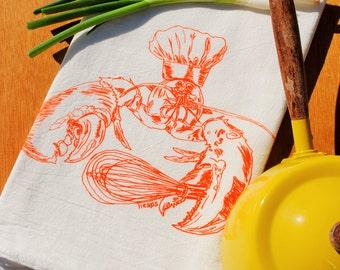 Orange Lobster Dish Tea Towel - Nautical Screen Printed Cotton Flour Sack Towel - Wedding Registry Gift - Eco Friendly Printed Kitchen Towel