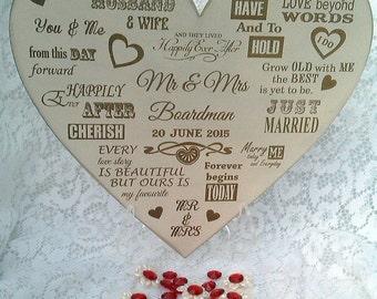 Wedding heart keepsake sentiment.  Wedding Keepsake. Bride Groom.