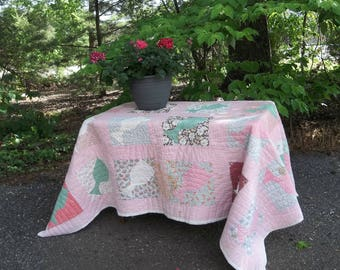Antique Quilt 68x78 Primitive Farmhouse Bedding Vintage Bedspread Folk Art Quilt French Country