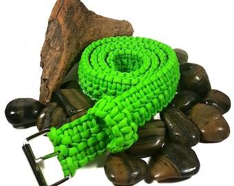 Paracord Adjustable Survival Belt Men's Belt Women's Belt Woven Belt - XS S M L Xl Xxl - Green