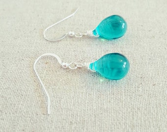 Teal Earrings • Teal Glass Earrings • Teal Teardrop Earrings • Teal Drop Earrings • Teal Dangle Earrings • Teal Green Earrings • Teal Green