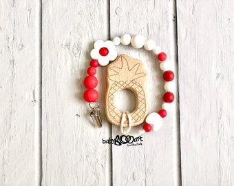Pacifier Clip + wooden toy | Pacifier holder | Dummy Clip | soother clip | baby clips for pacifiers |