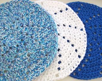Crocheted Dishcloths - Crochet Washcloths-Set of 3- Blue, White, Turquoise- Cotton Dishcloths - Cotton Washcloths - Dishcloth Set