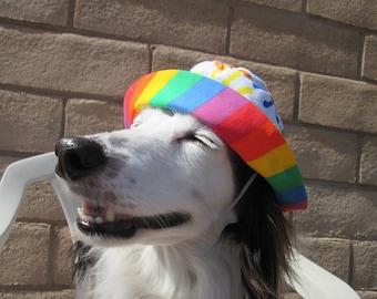 Dog Bucket Hat, Rainbow dog hat, Hand print dog hat, LBGTQ, Pride hat, American Girl Accessories, American Girl doll