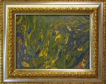 Bells in the Garden is the most recent acrylic abstraction in the golden frame