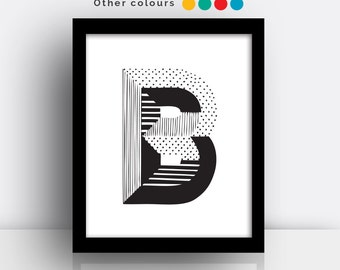 Letter B print - hand drawn typeface