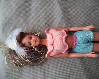 Mattel Barbie doll ,Barbie Doll , Vintage Barbie Doll , 1990 Barbie with cloths , Sparkle Hair Barbie,  Barbie with Star earrings