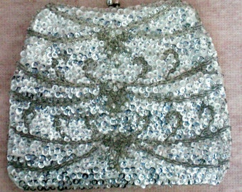 Silver Sequin Beaded Bag or Purse - 4392