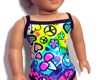 "Peace Love and Summer Fun Swimsuit for 18"" Dolls Such as American Girl"