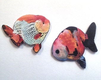 Ranchu Fancy Goldfish Tack Pin Brooch Set of 2 Handcrafted in the USA Gifts for Her ranch18a