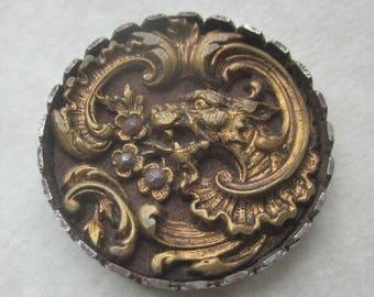 Fabulous Creature Button.  Medium Steel Cup Dragon Button OneWomanRepurposed B 60