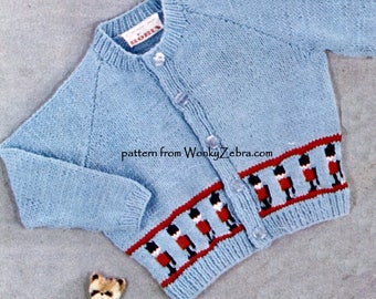 Vintage Baby and Toddler Cardigan Knitting Pattern PDF B138 from WonkyZebra