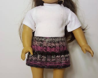 """Purple/Gray Knit Doll Skirt - Hand-made to fit like American Girl Doll Clothes - 18"""" Doll Clothes - Knit Doll Clothes"""